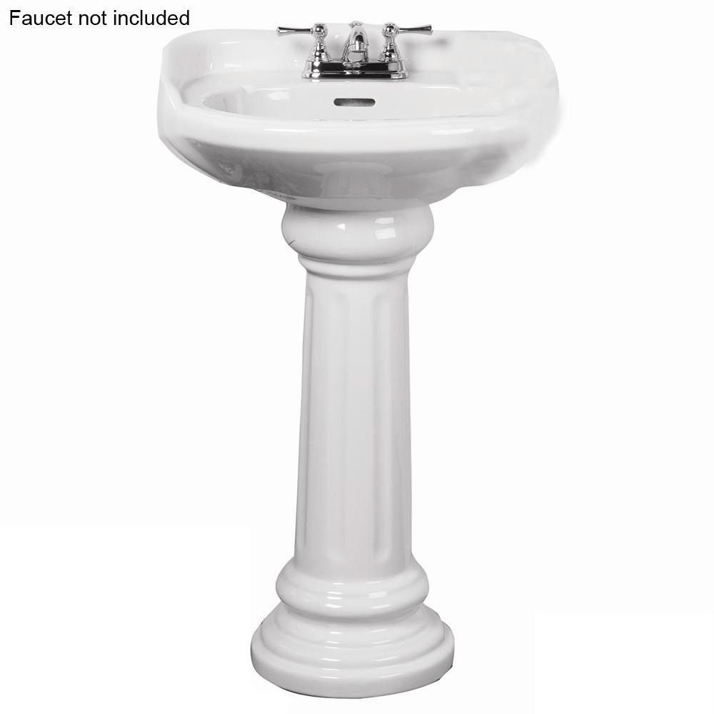 Pegasus Victoria 26 in Pedestal Combo Bathroom Sink for 4 in Centerset in White3754WH  The