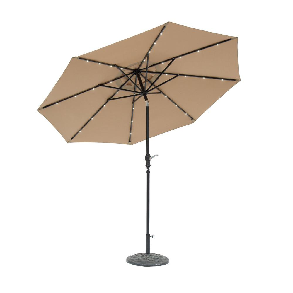 SunRay 9 ft Round Solar Lighted Market Patio Umbrella in