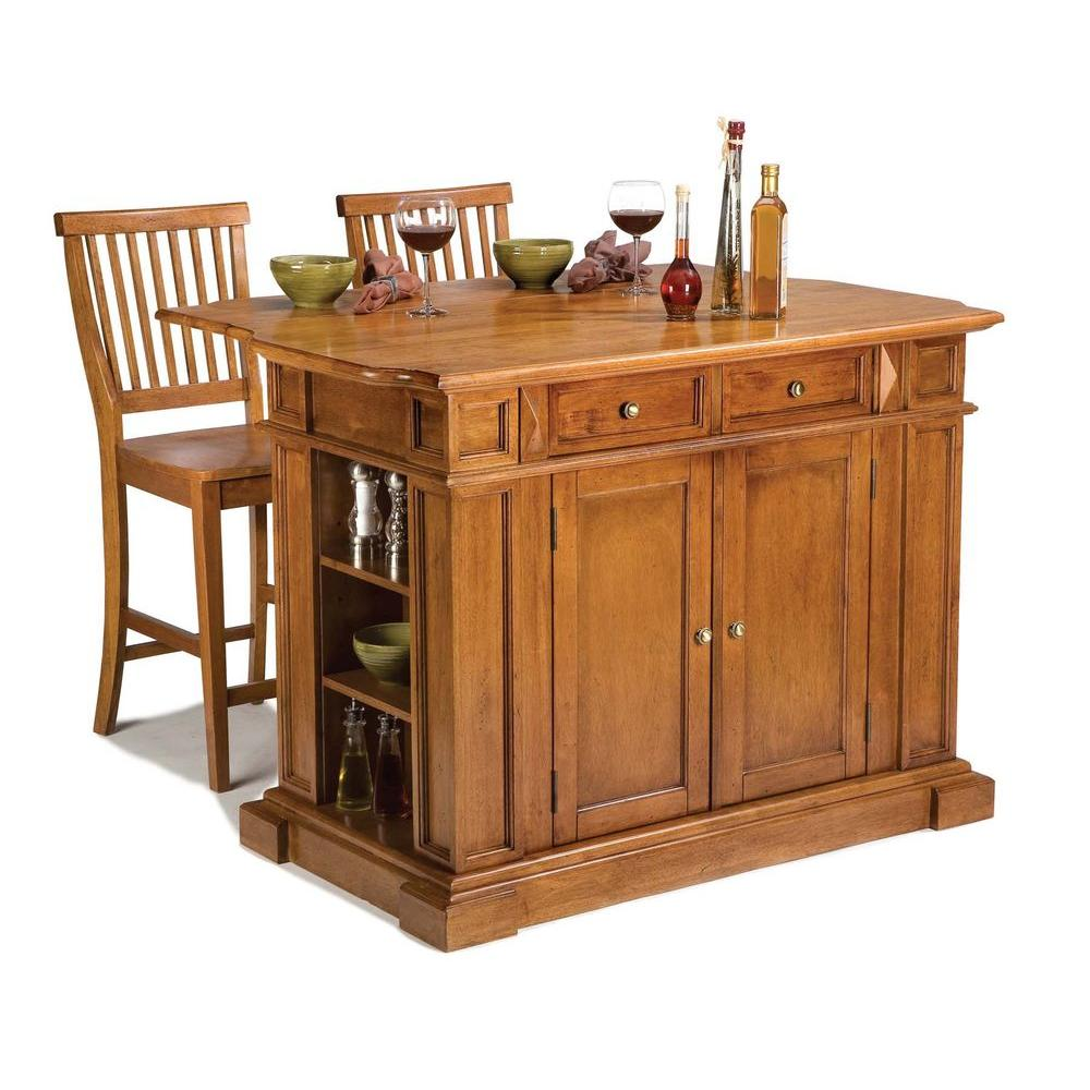 kitchen island stool home depot outdoor styles americana distressed cottage oak with seating 5004 948 the