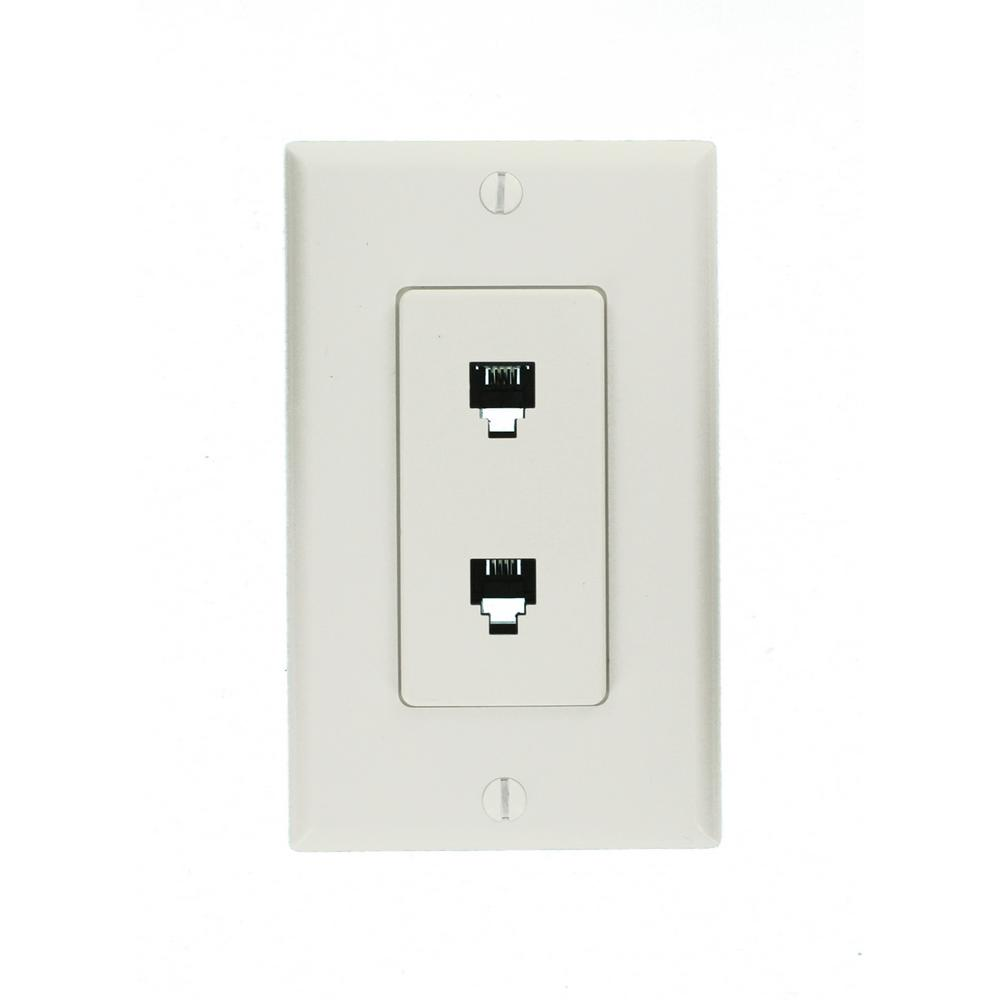 medium resolution of leviton decora 6p4c telephone wall jack assembly in white 40144 w household wiring telephone wall plates twin rj11 socket wall plate