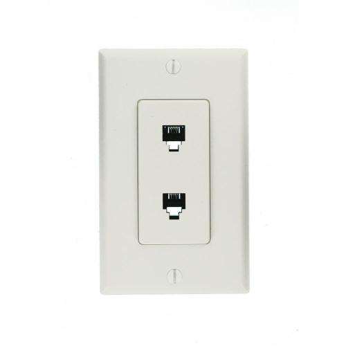 small resolution of leviton decora 6p4c telephone wall jack assembly in white 40144 w household wiring telephone wall plates twin rj11 socket wall plate