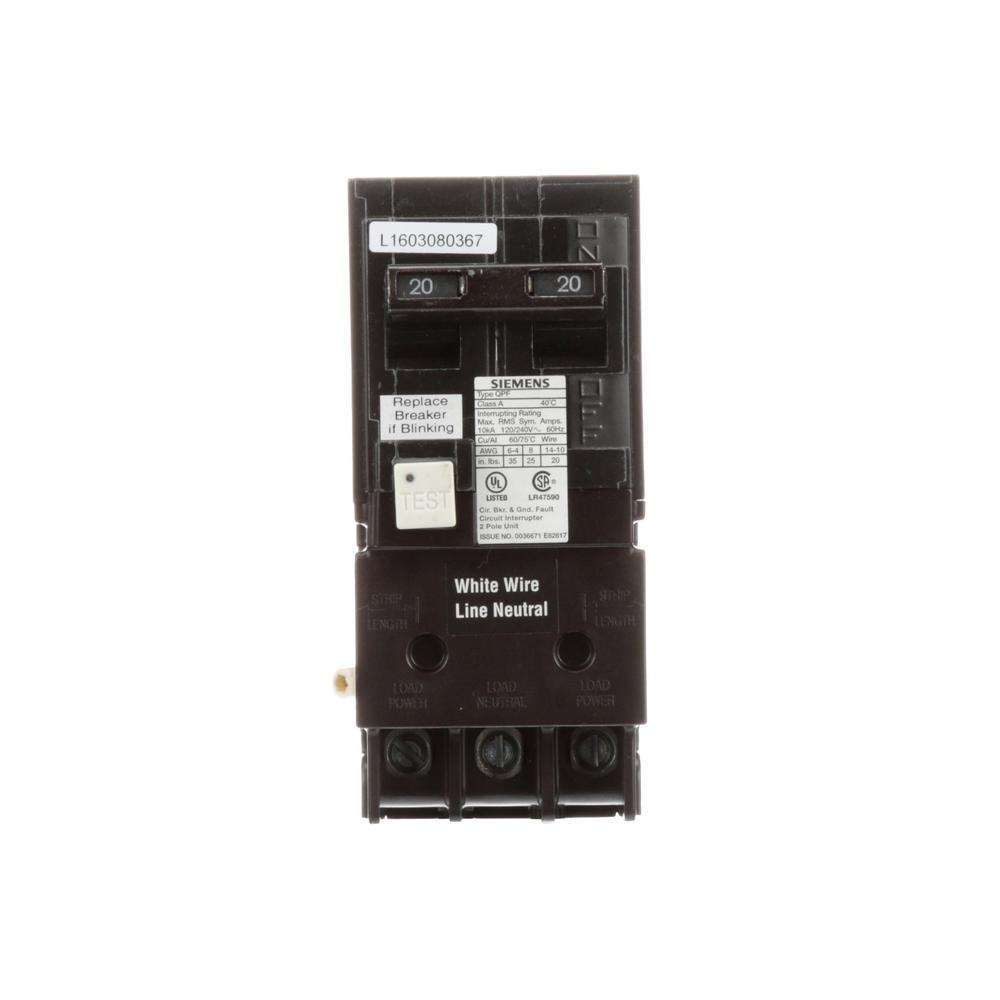 hight resolution of siemens 20 amp double pole type qpf2 gfci circuit breaker