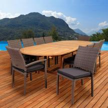 Jameson 11-piece Teak Wicker Double Extendable