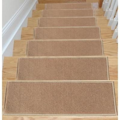 Stair Tread Covers Rugs The Home Depot   Beige Carpet On Stairs   Pattern   Dark Beige   Nice   Bound Edge   Hardwood Transition