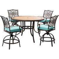 Hanover Monaco 5-Piece Outdoor Bar-Height Dining Set with ...