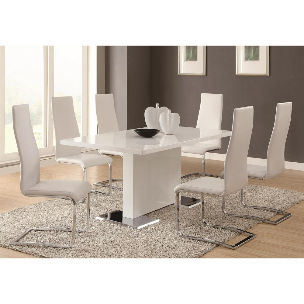 black dining room chairs with chrome legs 100 chair covers for sale coaster everyday white and side set of 4 100515wht the home depot