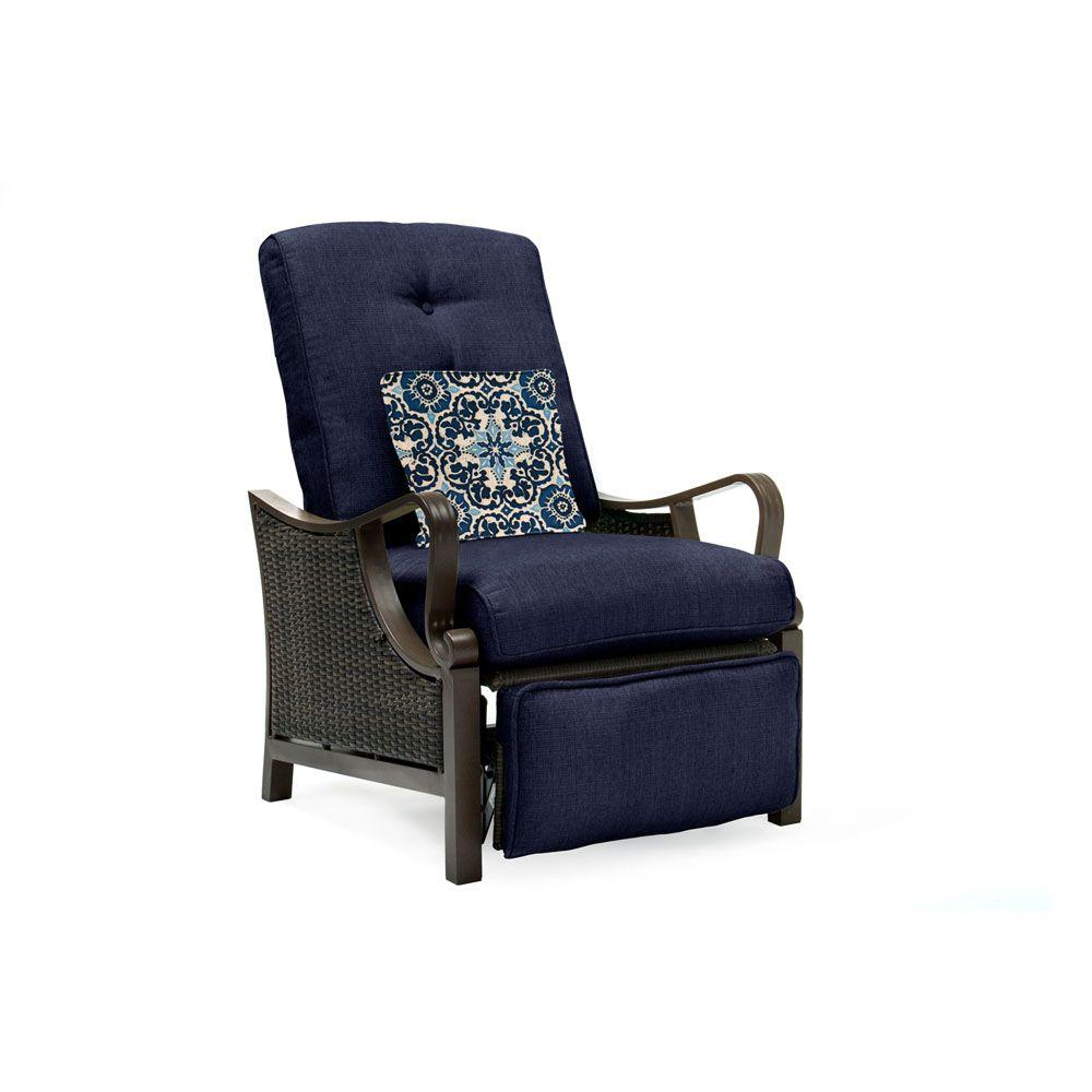 wicker reclining patio chair and a half with sleeper hanover ventura all weather lounge navy blue cushion