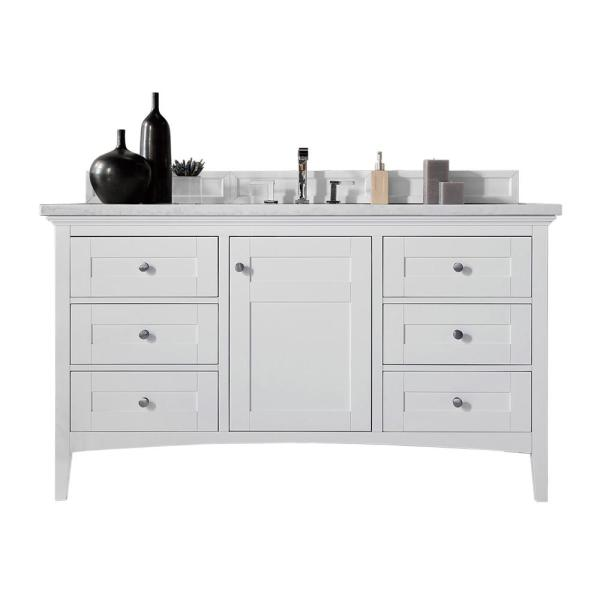 James Martin Vanities Palisades 60 In W Single Bath Vanity In Bright White With Soild Surface Vanity Top In Arctic Fall With White Basin 527v60sbw3af The Home Depot