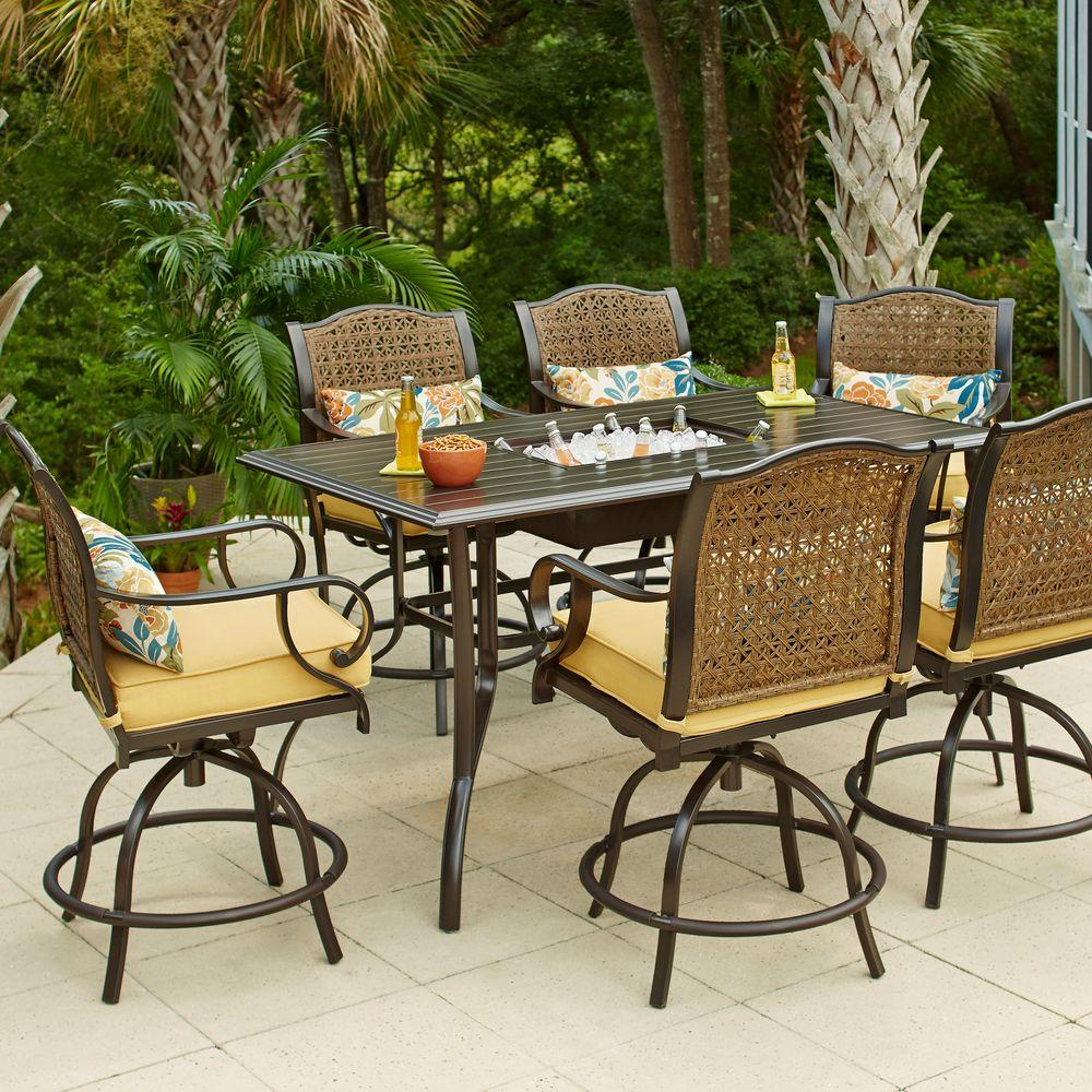 Hampton Bay Vichy Springs  Piece Patio High Dining Set