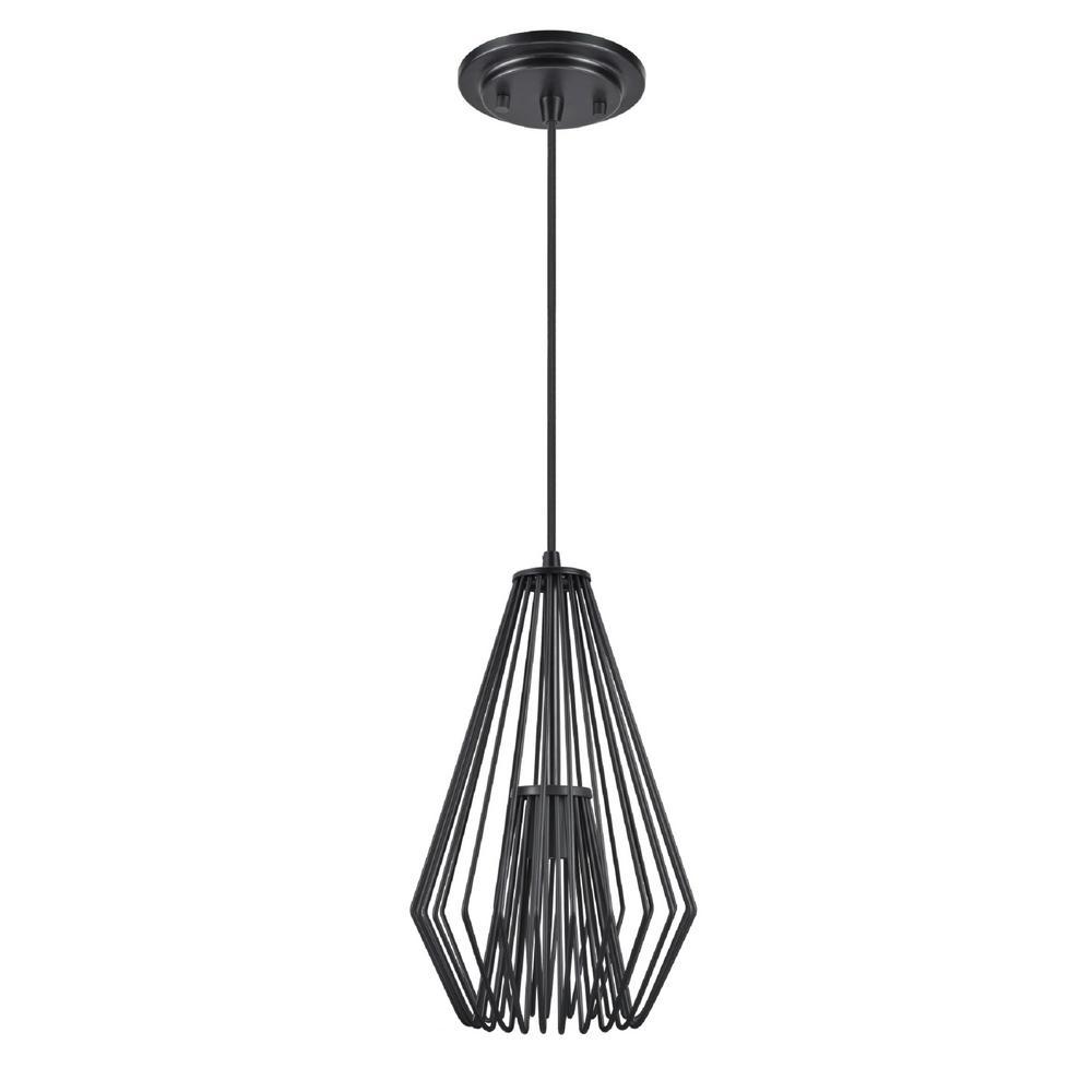 Aspen Creative Corporation 1-Light Black Mini Pendant with