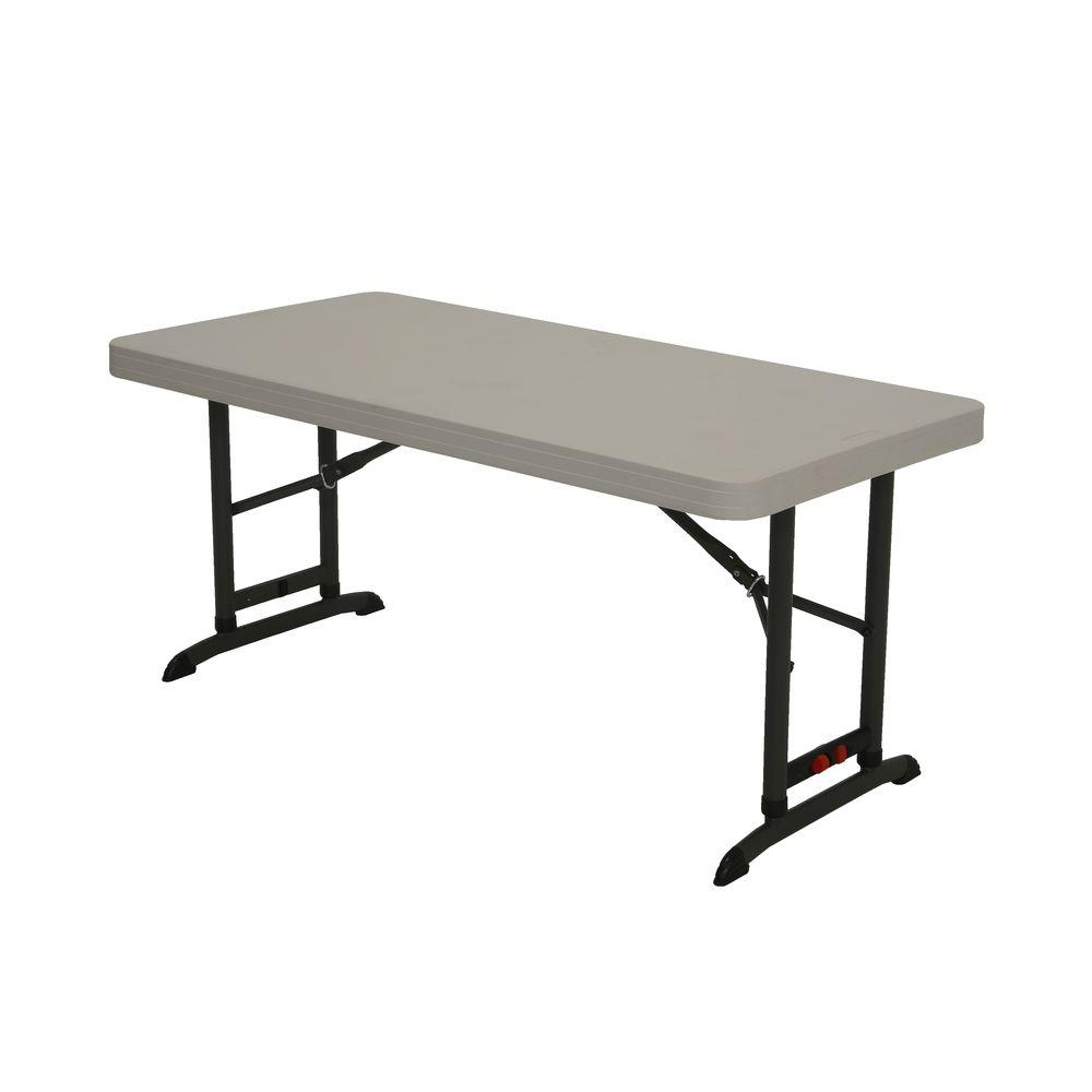 places to borrow tables and chairs zero gravity oversized chair folding furniture the home depot almond commercial adjustable table