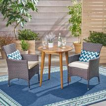 Noble House Bruna Multi-brown 3-piece Wood And Wicker