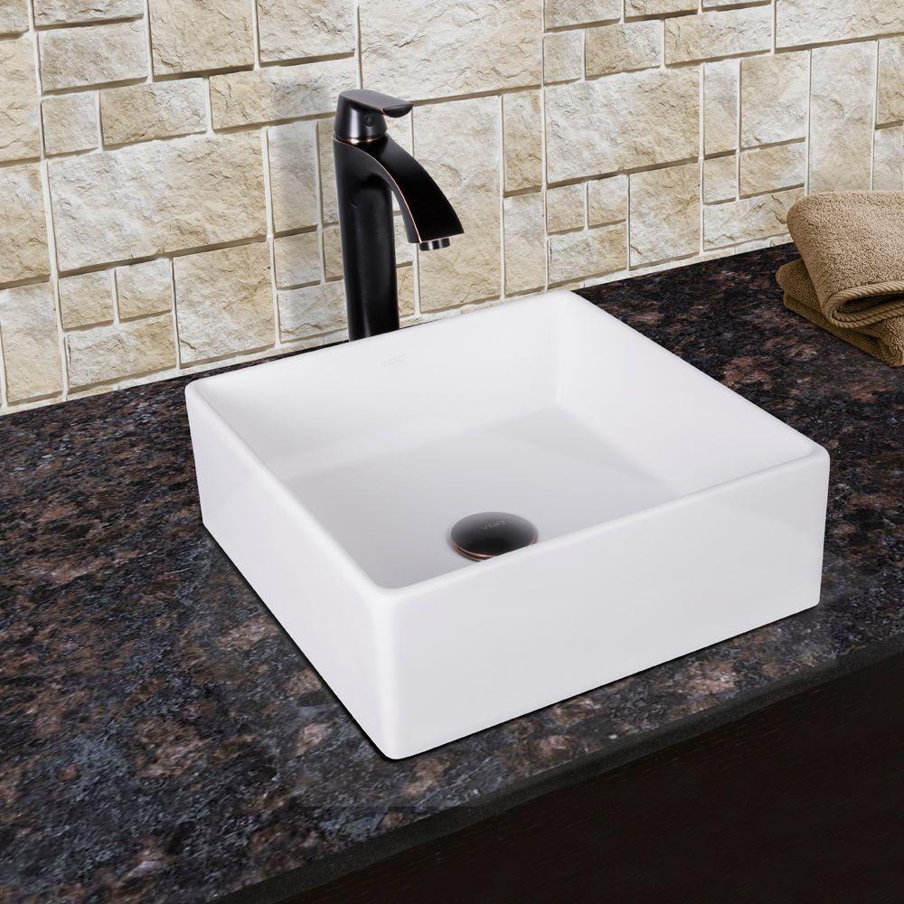 VIGO Dianthus Matte Stone Vessel Sink and Linus Bathroom