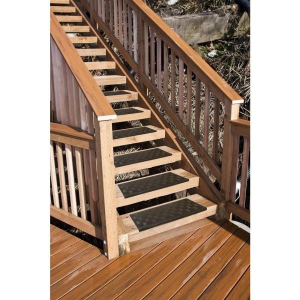 Multy Home Black Rubber 9 In X 24 In Grid Stair Tread Cover | Home Depot Wood Stair Steps | Carpet | Deck Stairs | Stair Parts | Deck | Oak Stair Nosing