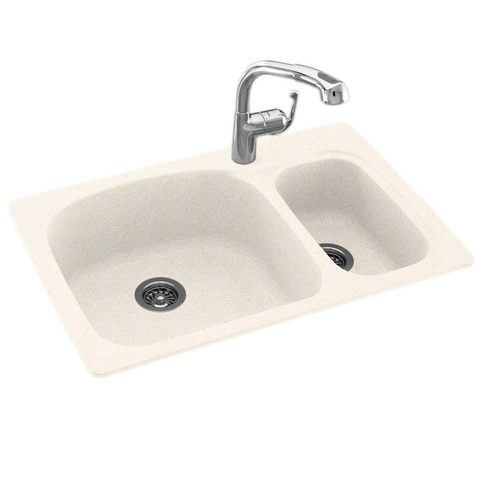 swanstone single bowl kitchen sink decorate swan dual drop-in undermount granite composite 33 in. 1 ...