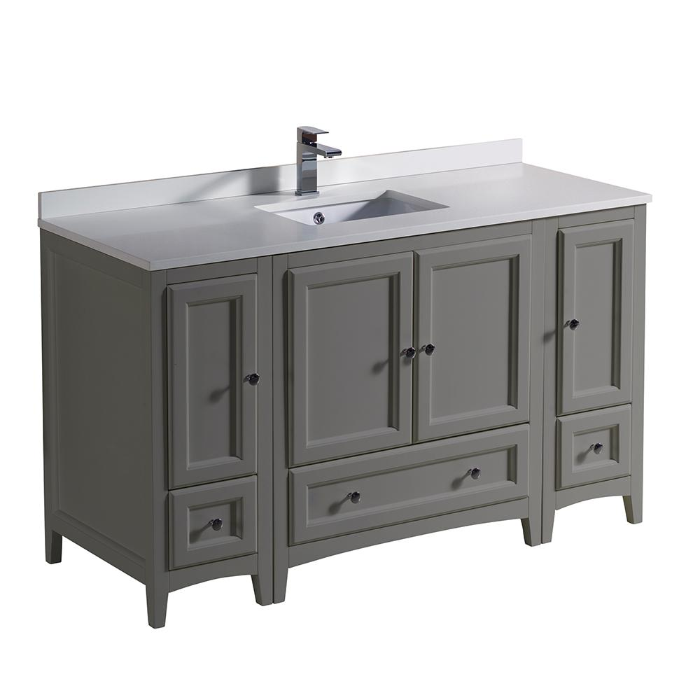 54 Bathroom Vanity Fresca Oxford 54 In Traditional Bathroom Vanity In Gray With Quartz Stone Vanity Top In White With White Basin