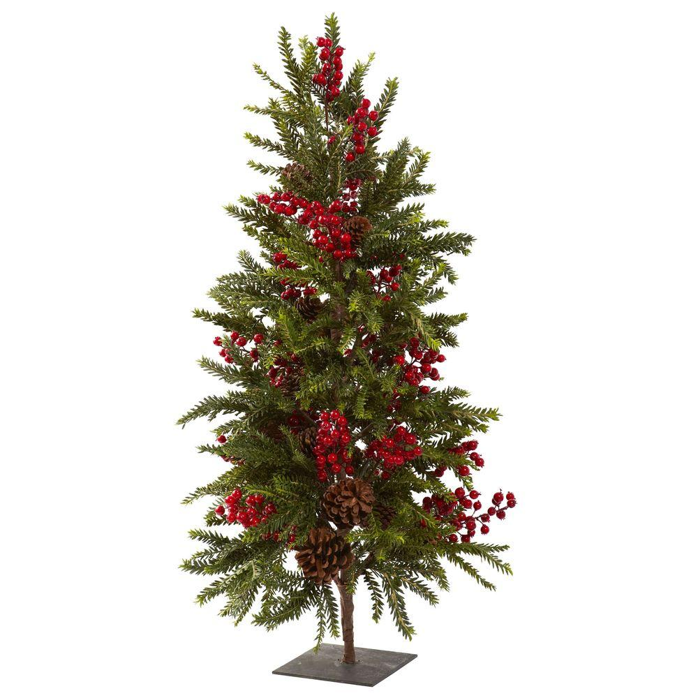 Nearly Natural 36 In Pine And Berry Artificial Christmas