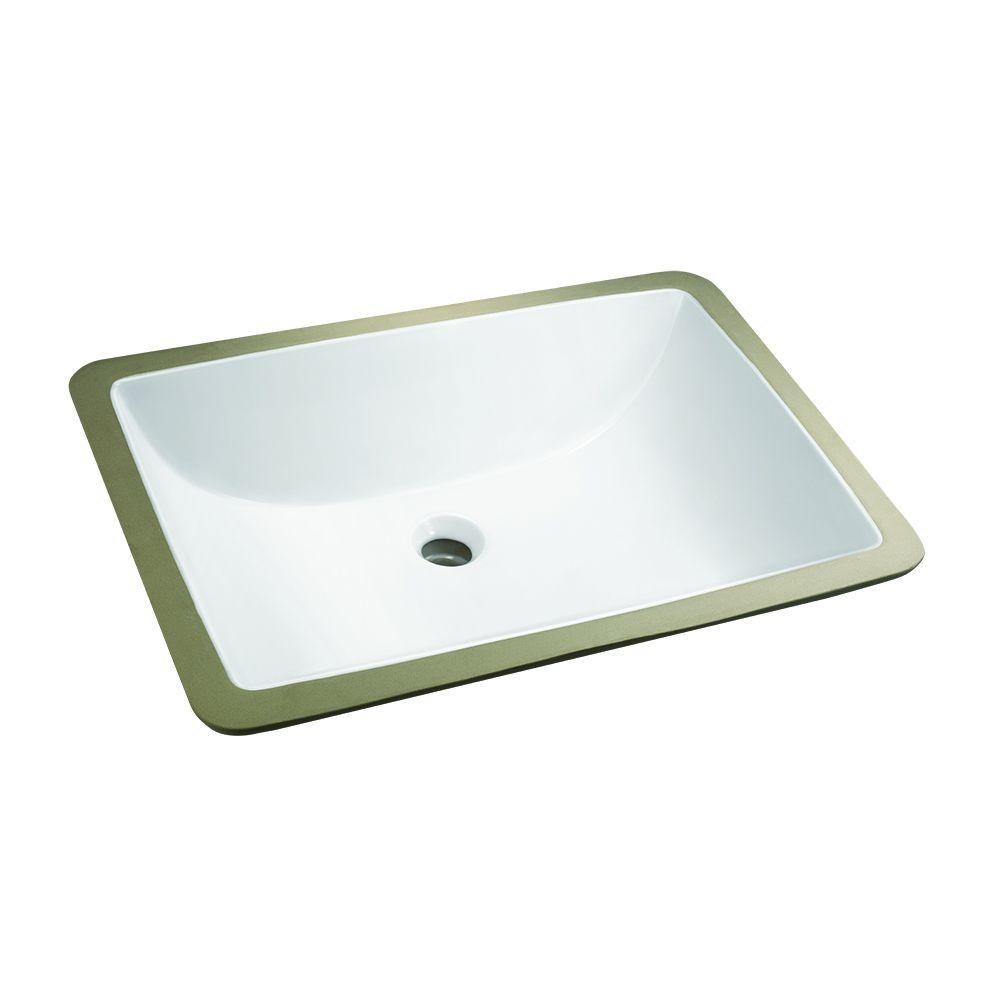 Rectangular Sinks Bathroom Glacier Bay Rectangle Undermounted Bathroom Sink In White