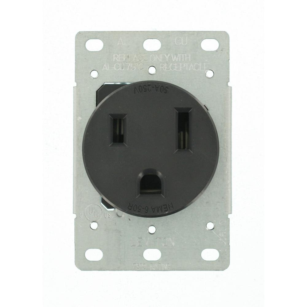 hight resolution of leviton 50 amp 2 pole flush mount shallow single outlet black