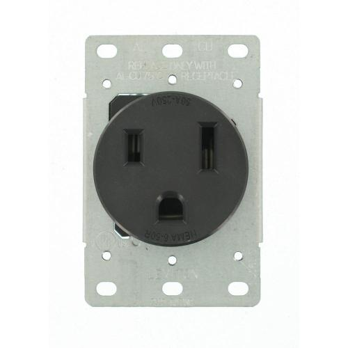 small resolution of leviton 50 amp 2 pole flush mount shallow single outlet black