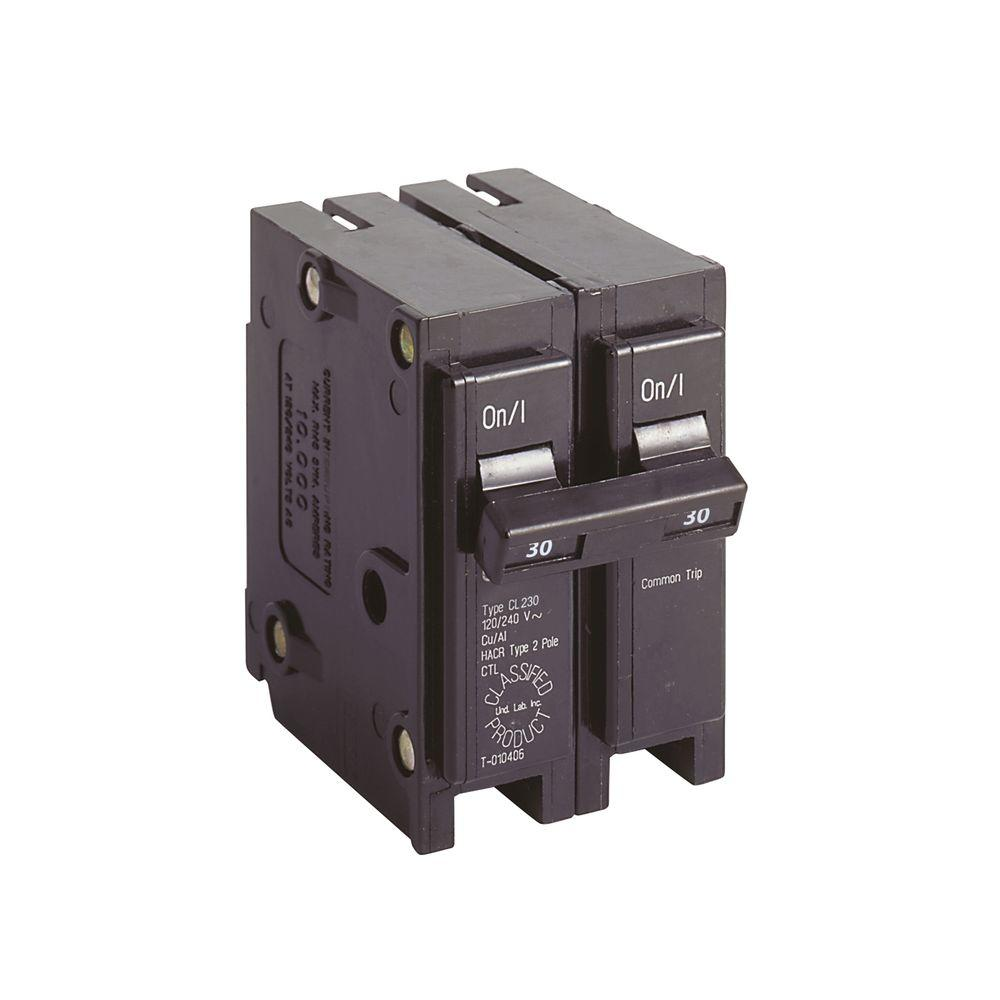 hight resolution of eaton cl 30 amp 2 pole circuit breaker cl230 the home depot besides 30 2 pole breaker on 2 pole 40 amp circuit breaker wiring