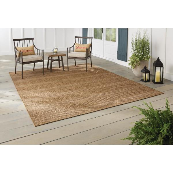 Hampton Bay Natural Tan 8 Ft X 10 Ft Striped Indoor Outdoor Area Rug 3001907 The Home Depot