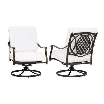 black metal patio chairs brown leather butterfly chair aluminum outdoor lounge the home depot belcourt custom swivel rocking 2 pack with cushions included