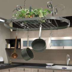 Pot Racks For Kitchen Beadboard Cabinets Storage Organization The Home Depot Handcrafted Scrolled Oval Rack Hammered Steel
