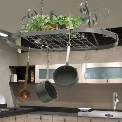 kitchen pot racks 3 piece set storage organization the home depot handcrafted scrolled oval rack hammered steel