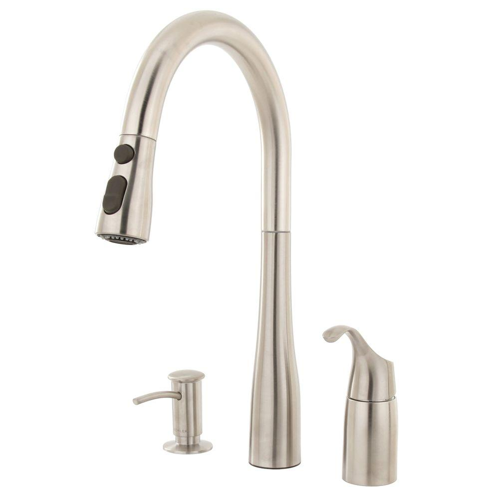 3 hole kitchen faucet trash bin kohler simplice single handle pull down sprayer in vibrant stainless