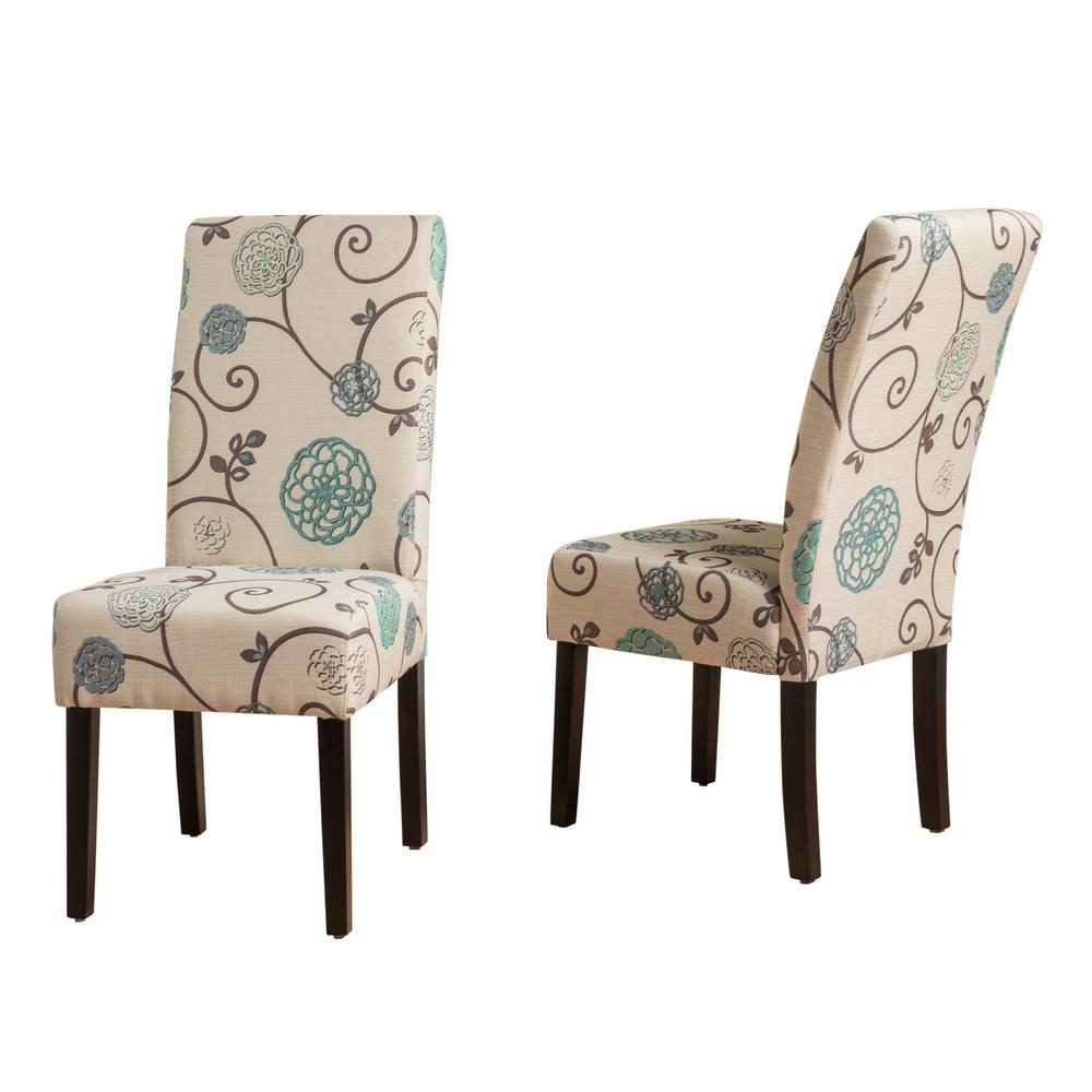 blue and white dining chairs fishing chair loot card noble house pertica floral fabric set of 2