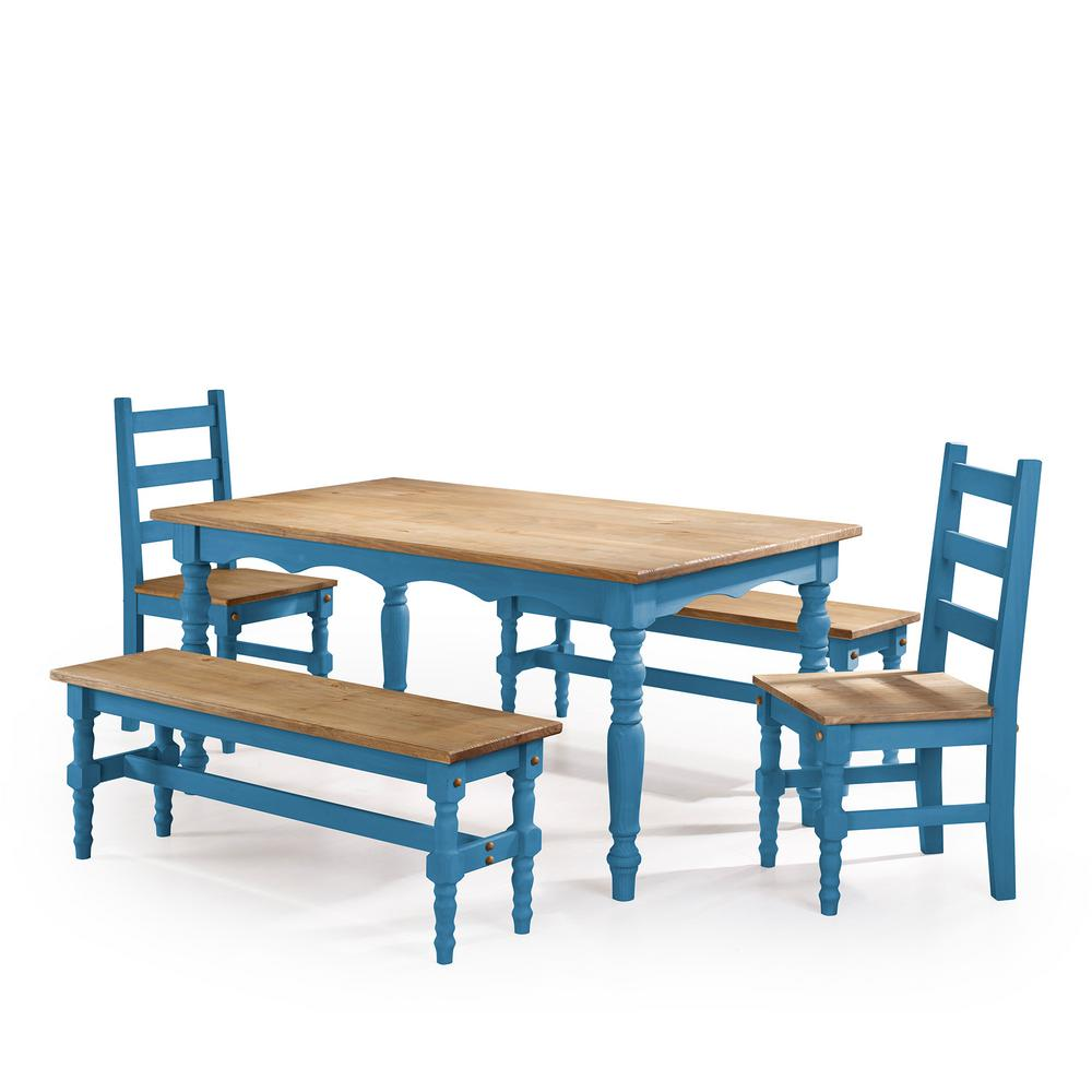Table With Two Chairs Manhattan Comfort Jay 5 Piece Blue Wash Solid Wood Dining Set With 2 Benches 2 Chairs And 1 Table