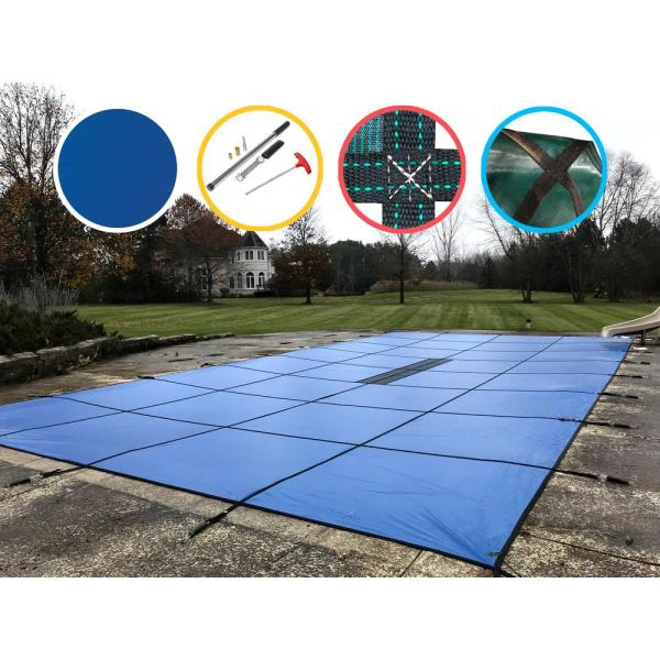 Waterwarden 12 Ft. X 27 Rectangle Blue Solid In-ground Safety Pool Cover-scsb1227 - Home