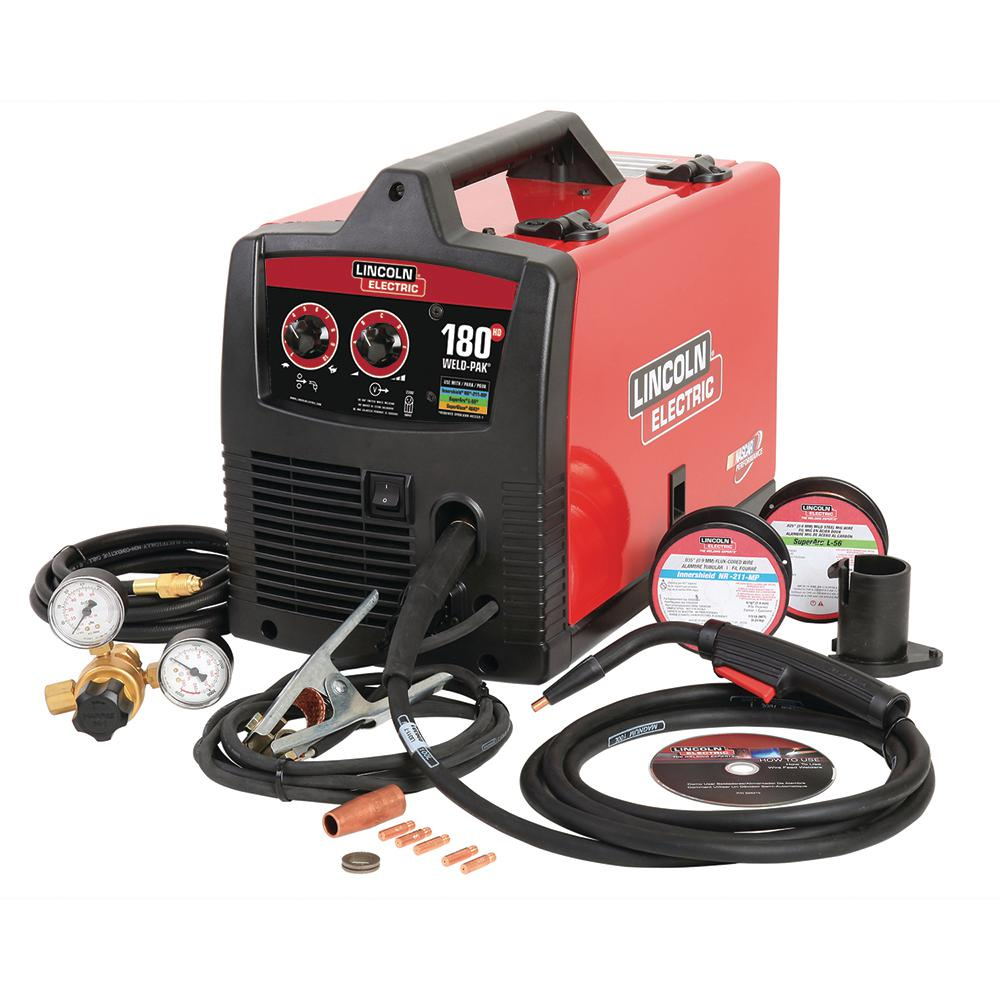 hight resolution of 180 amp weld pak 180 hd mig wire feed welder with magnum 100l gun gas regulator mig and flux cored wire 230v