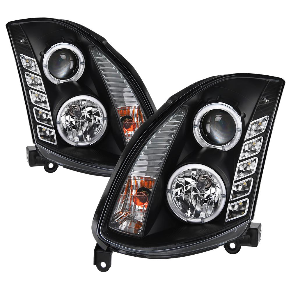 medium resolution of infiniti g35 03 07 2dr projector headlights xenon hid model only led halo drl black