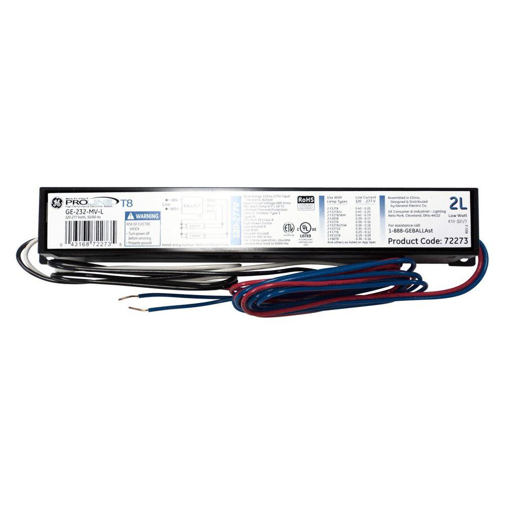 hight resolution of ge 120 277v electronic low power factor ballast for 4 ft 2 or 1 rh homedepot com 4 lamp ballast wiring diagram t8 electronic ballast wiring