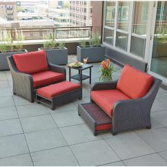 Cushions For Wicker Chairs Extra Large Bean Bag Hampton Bay Sauntera 5 Piece Patio Seating Set With Red