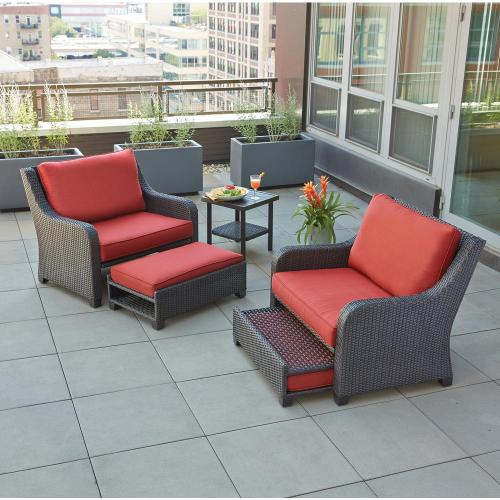 small resolution of hampton bay sauntera 5 piece wicker patio seating set with red cushions
