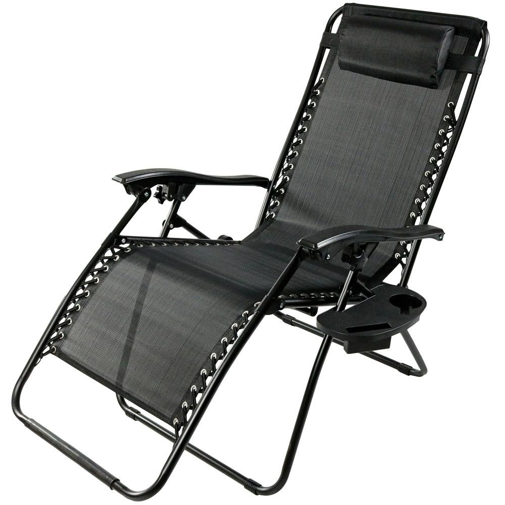 Zero Gravity Outdoor Lounge Chair Sunnydaze Decor Oversized Black Zero Gravity Sling Patio Lounge Chair With Cupholder
