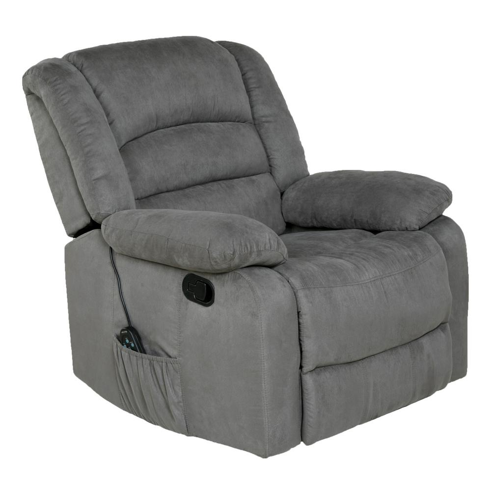 heated chair cover for recliner exercise office relaxzen longstreet grey microfiber massage rocker with heat and dual usb 60 701004m the home depot