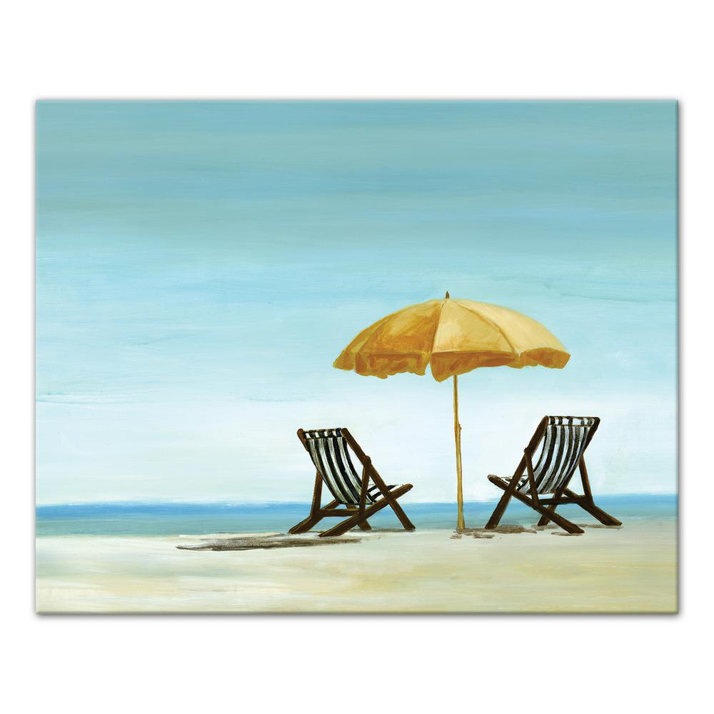 Beach Chairs With Umbrella 16 In X 20 In Beach Chairs Under Yellow Umbrella Printed Canvas Wall Art