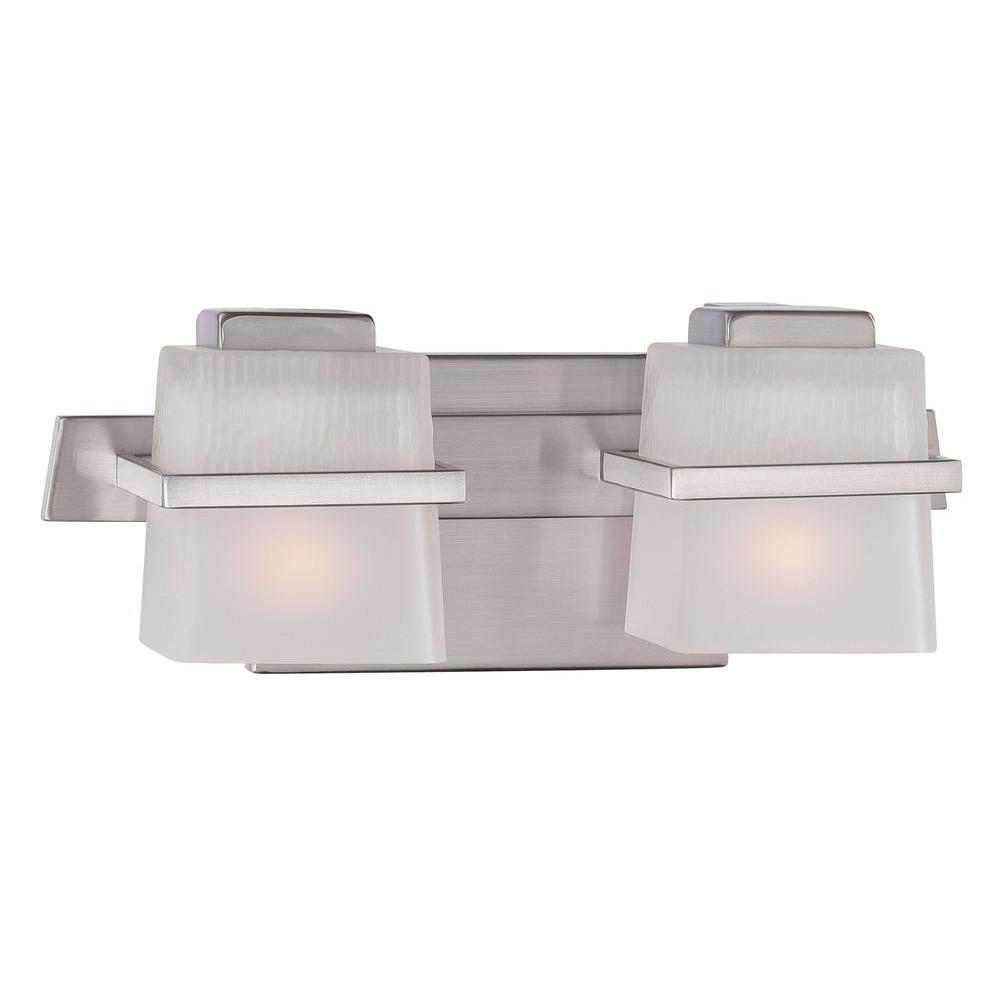 hight resolution of hampton bay harlin hills 2 light brushed nickel vanity light with etched glass shades
