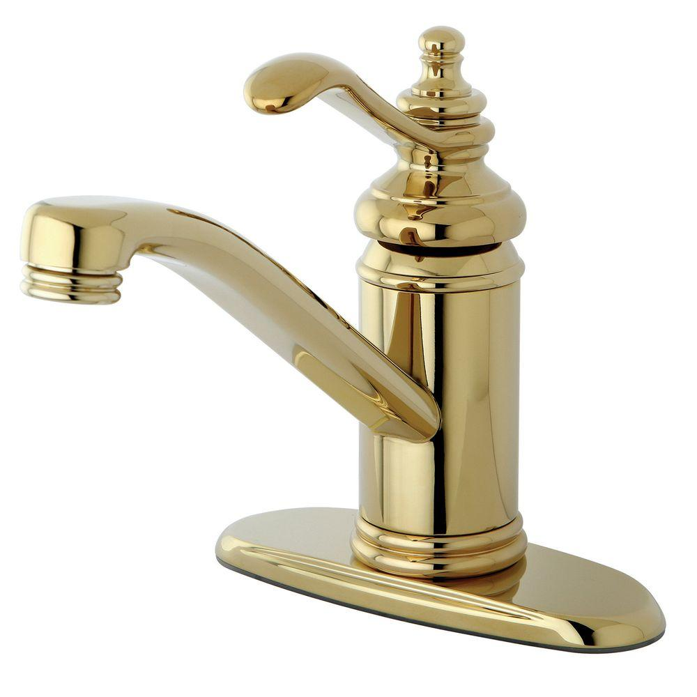 Kingston Brass 4 in Centerset 1Handle HighArc Bathroom Faucet in Polished BrassHKS3402TL