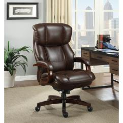 Wooden Leather Desk Chair Folding Rental Jacksonville Fl La Z Boy Fairmont Biscuit Brown Bonded Executive Office 44940 The Home Depot