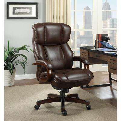 home desk chairs canoe chair review office furniture the depot fairmont biscuit brown bonded leather executive
