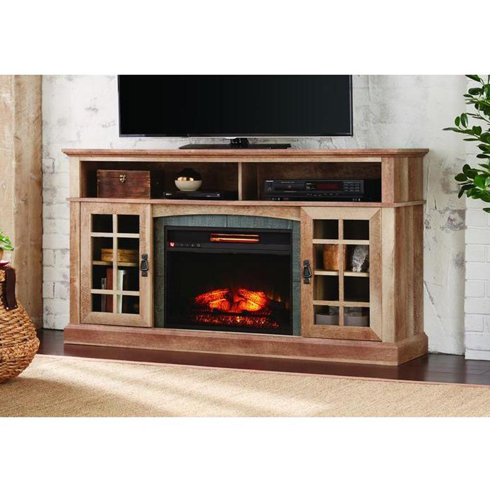 Home Decorators Collection Brookdale 60 in TV Stand Infrared Electric Fireplace in Natural