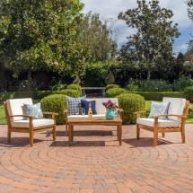 Noble House Peyton Teak 4-piece Wood Patio Conversation