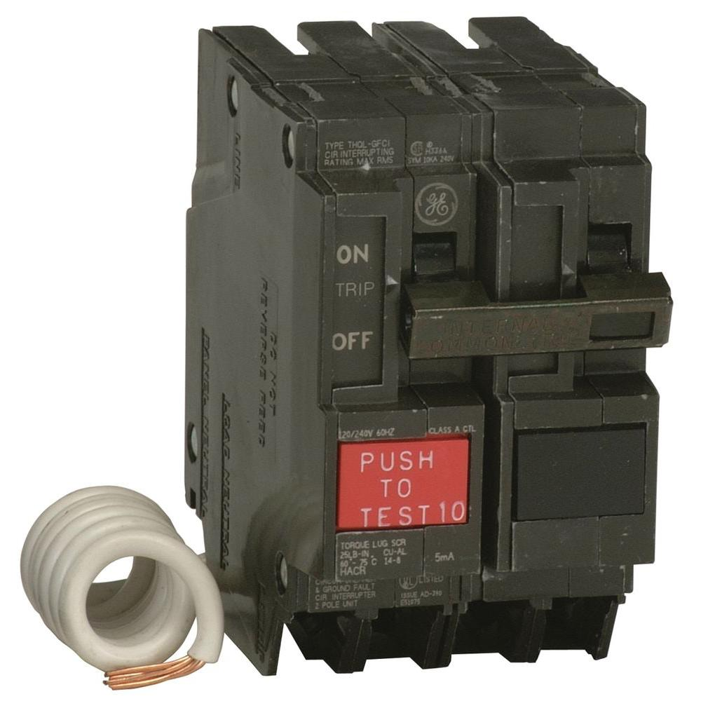 medium resolution of ge 50 amp 2 1 4 in double pole gfci circuit breaker thql2150gfp electrical wiring in the home gfci trips gfci trips amp breaker