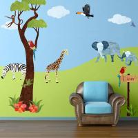 Safari Multi Peel and Stick Removable Wall Decals Jungle ...