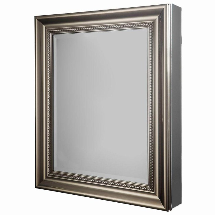H Framed Recessed or Surface-Mount Bathroom Medicine Cabinet in Brushed  Nickel